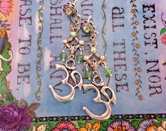 "FREE SHIP!- Spiritual Om Symbol Green Aventurine Gemstone Earrings, Silver Hindu, Buddhist, Self Realization, God Love, 2 1/2"", Hippie Peace"