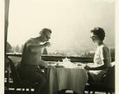 "Vintage Photo ""Mr. Tea and Mrs. Toast"" Snapshot Photo Old Antique Photo Black & White Photograph Found Paper Ephemera Vernacular - 84"