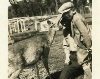 "Vintage Photo ""Friends with Mr. Deer"" Snapshot Antique Photo Black & White Photograph Found Paper Ephemera Vernacular - 7"