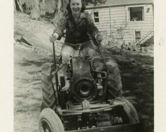"Vintage Photo ""Momma's New Toy"" Girl Working Woman Snapshot Antique Photo Old Black & White Photograph Found Paper Ephemera Vernacular - 38"