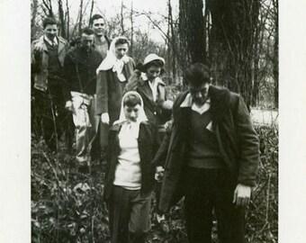 "Vintage Photo ""Follow the Leader"" Snapshot Antique Photo Old Black & White Photograph Found Paper Ephemera Vernacular - 12"