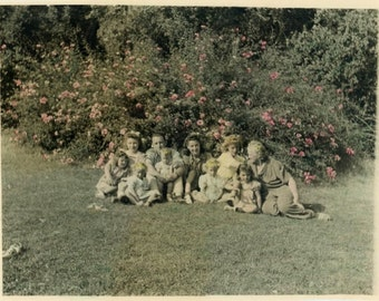 "Vintage Hand Colored Photo ""Garden Family"" Tinted Snapshot Old Antique Photo Black & White Photograph Found Paper Ephemera Vernacular - 199"