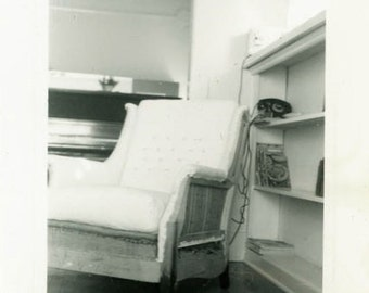 "Vintage Photo ""Grandfather's Chair"" Interior Design Decor Snapshot Old Photo Black & White Photograph Found Paper Ephemera Vernacular - 46"