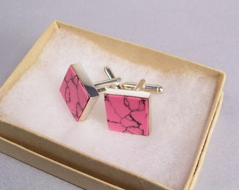 Pink Cuff Links SHIPS IMMEDIATELY Handmade Pink Black Cufflinks Pink Wedding Composite Rhodonite Gifts for Groomsman Birthday Gift for Him