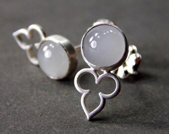 Gemstone Post Earrings, Aquamarine Earrings, Sterling Silver