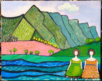 colorado girl, art landscape, 16 x 20 x 1.5 original abstract landscape painting, river painting, plen air painting, oil painting, colorado