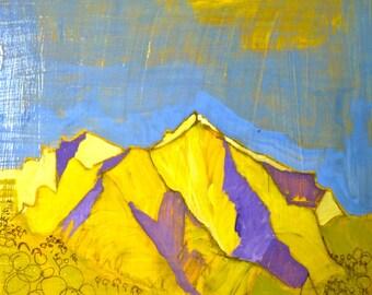 art landscape, Mount Sopris, 10 x 10 original painting, Colorado Mountains,  acrylic painting,  illustration, abstract landscape painting