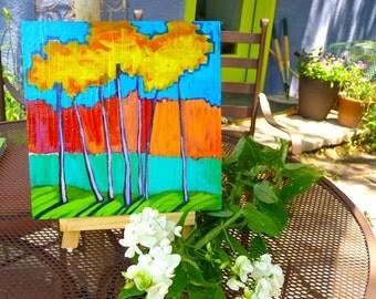 art landscape, painting of trees, original painting, Trees   10 x 10 x .75 Original Painting