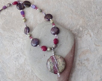 Jasper necklace, pink and green jewelry, natural stone necklace, womens fashion, gifts for women, gift for her, valentines day gifts, bride