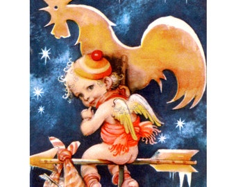Christmas Card - Cherub with Rooster Weathervane Starry Night - Jack Frost - Artelius