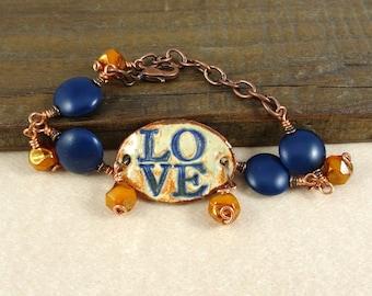 LOVE Bracelet - Navy Blue and Orange Ceramic Link Bracelet - Copper Wrapped Beads with Copper Chain - Adjustable Length