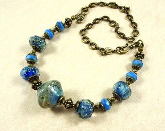 Blue Lampwork Necklace - Large Bicone Focal with Ocean Blue Nugget Beads and Czech Glass Beads - Multiple Lengths Available