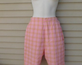 Vintage Pink and Green Plaid High Waisted Preppy Long Shorts