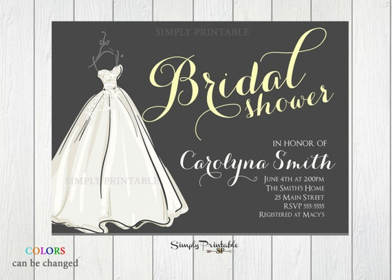 Gray Yellow Wedding Shower Invite, Wedding Dress Invitation, Bride Invitation, Bridal Shower Invitation