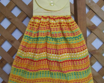 Orange Yellow Waffle Kitchen Towel, Orange Kitchen Decor, Hanging Hand Towel, Kitchen Towels, Kitchen Linens, Wedding Gift SnowNoseCrafts