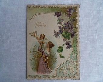 Vintage Victorian Valentine Mother Baby