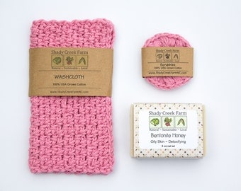 Bath Set, All Natural Soap washcloth face scrubbies face cloth gift for women vegan gift for wife handmade soap, girlfriend gift
