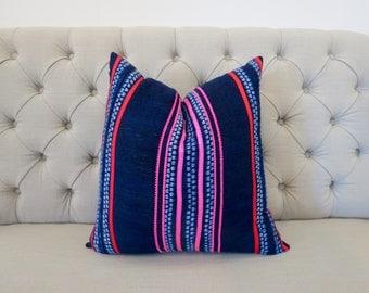 "Vintage Ethnic Hmong Homespun Oganic Hemp Batik Hand Woven Pillow Case 20"" x 20"" Tribal Costume eco friendly"