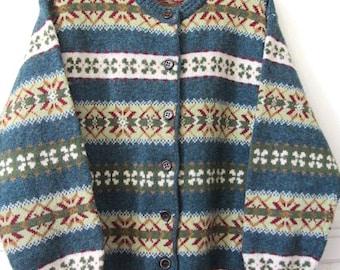 Vintage wool sweater, Fairisle Benetton jacket, Shetland wool sweater, Womans wool Sweater, vintage Benetton , boho wool sweater  .
