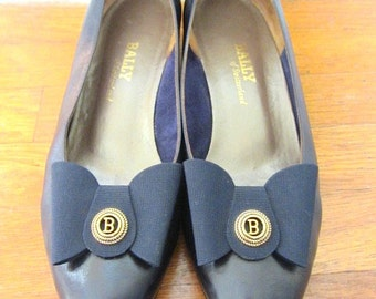 Vintage Bally shoes,Navy Blue shoes,Bally Leather Pumps,Bally wedding shoes, Bally graduation shoes,Bally navy pumps,navy graduation shoe