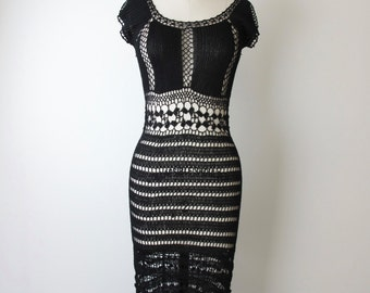 1970s Black Crochet Wiggle Dress
