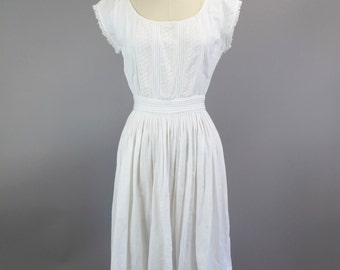 1980s White Cotton Lace Sun Dress
