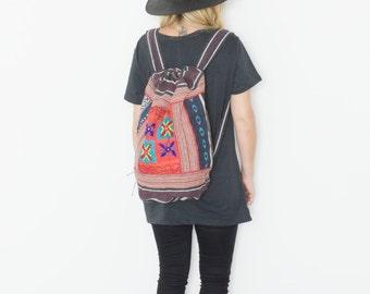 Vintage Ethnic Embroidered BOHO Backpack, Daypack