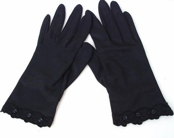 1960s Black Gloves / Short Ladies Gloves / Dress Gloves - Black Nylon