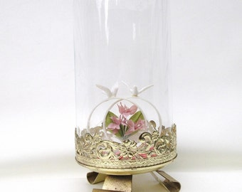 Vintage Glass Cloche Dome, Glass Display Case, Glass Dome Display – Metal Stand