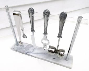 Vintage Bar Tool Set, Bartender Tools, White Marble Tray, Bar Set, Barware Set, Mixology Tools - 5 Piece Set