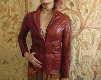 70's Vintage Leather Rocker Glam Jacket  USA sm