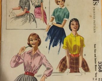 Vintage 1950s McCalls Pattern 3368 TEEN Size 14 Bust 34 Great Original Pattern 4 Blouses Teen Easy to sew Trendy 50s Blouse Teen Bust 34
