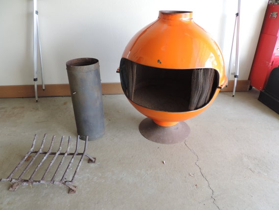 Mid Century Fire Place Wood Stove Orange Mid By Bluejeanjulie