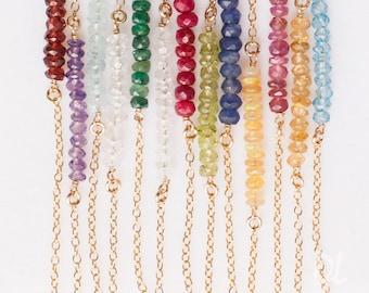 Layered Necklace - Gemstone Bar Necklaces - Birthstone Necklace - Layering Necklace - Delicate Gemstone Necklace - Minimal Gemstone Necklace