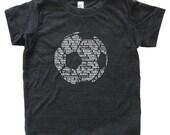 Soccer Shirt - Football Futbol Soccer T Shirt - Tshirt- Youth Boy Shirt / Girl Super Soft Kids Tee Sizes 2T 4T 6 8 10 12 Triblend Black