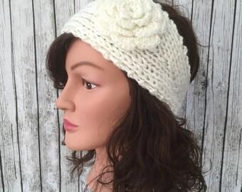 White Knit headband ear warmer ear muffs flower button back