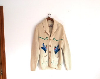 1960s or 1970s  Cowichan duck  hunting motif shawl collar Sweater size large