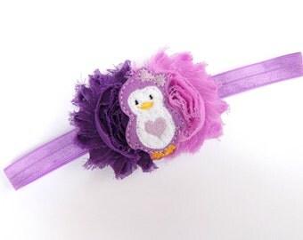 Penguin bow, Penguin hair bow, Penguin headband, Purple penguin bow, Purple shabby penguin bow, Penguin clip, Toddler penguin bow