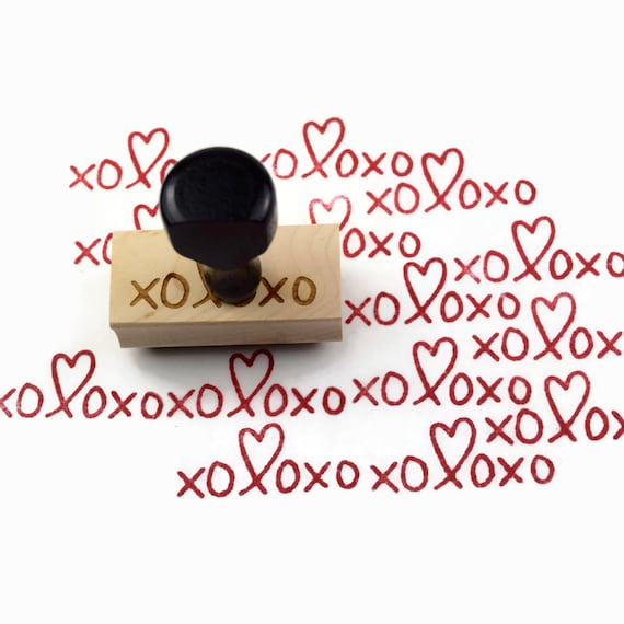 Rubber Stamp XOXOXO - Valentines Hugs and Kisses Heart - Wood Mounted Stamp - Ready to Ship / In Stock
