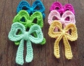Bow Crochet Applique Pattern tutorial PDF - easy crochet pattern to applique in accessories - Instant DOWNLOAD