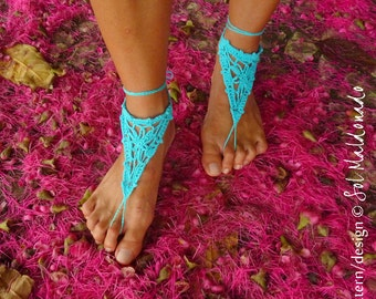Barefoot Sandals Crochet Pattern PDF- summer bikini sandles accessories - Instant Download
