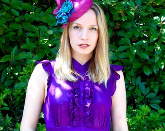 Magenta Pink and Teal Blue classic cocktail hat