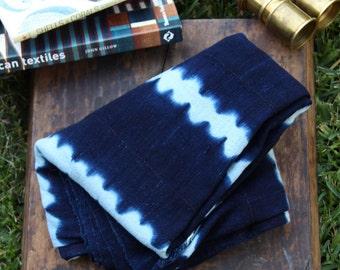 Dark & Stormy : Vintage Indigo Strip Cloth from Burkina Faso, West African Tribal Wall Hanging, Beach, Blanket, Sewing, Design Supply