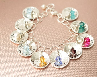 Sterling Silver Personalized Name Tag Bracelet Mother Mom Grandmother Grandma Children Child Kids Grandchildren