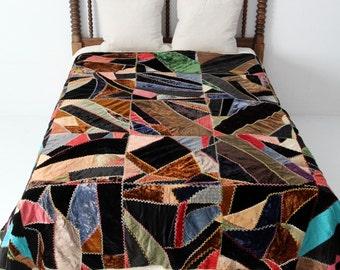 antique crazy quilt, 1900s blanket