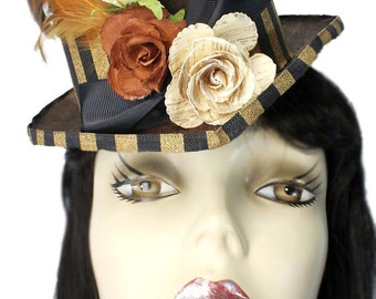 Brown Riding Top Hat Gypsy Garden Steampunk Tea Party Fascinator Cocktail Cosplay