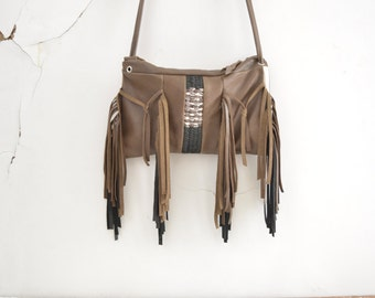 SALE Brown Tassel Crossbody Purse with Woven Leather - Boho Rock Chick Chic - Ready to Ship.