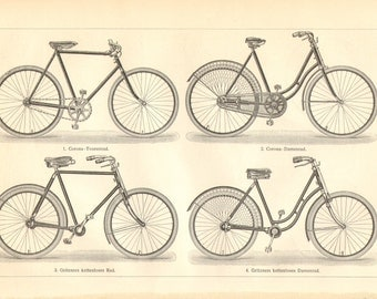 1904 Bicycles, Bicycle Parts Antique Engraving Print