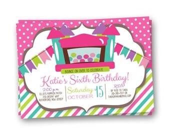Bounce House Invitation, Jump Party Invitation, Bounce House Party Invite, Bounce Invitation, Bounce Birthday Invitation
