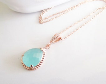 Bridesmaid Necklaces,Rose Gold Bridesmaid Necklace, Bridal Necklace,Mint Green Necklace,Mint and Rose Gold, Beach Wedding Jewelry,Gifts